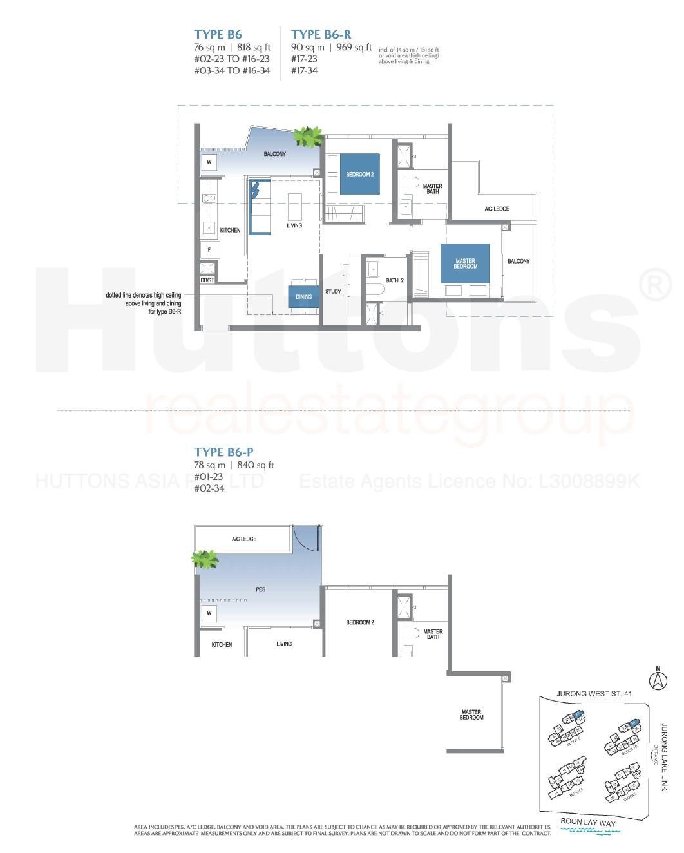 Lake Grande 2+Study Floor Plan Type B6