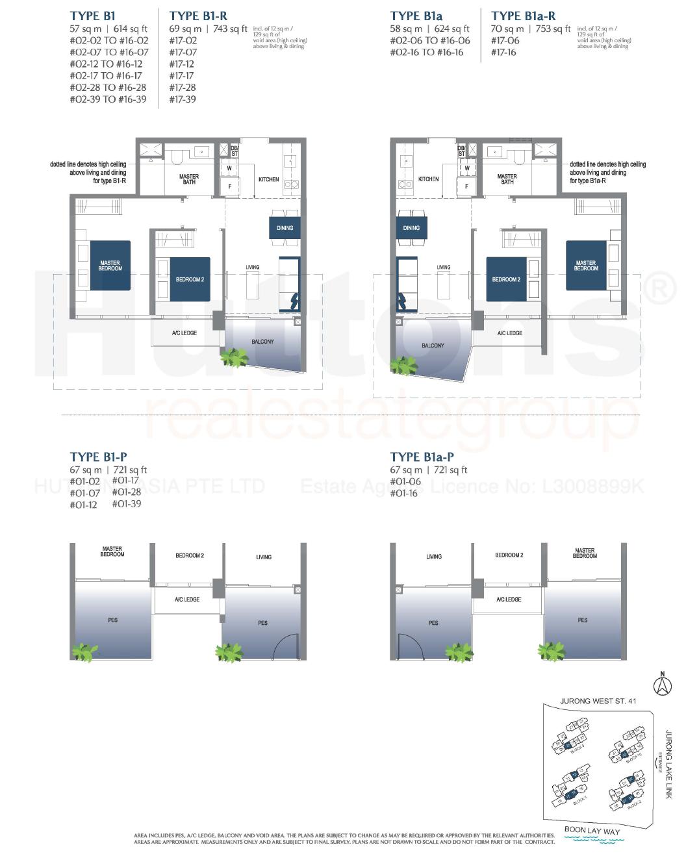 Lake Grande 2 bedroom Floor Plan Type B1