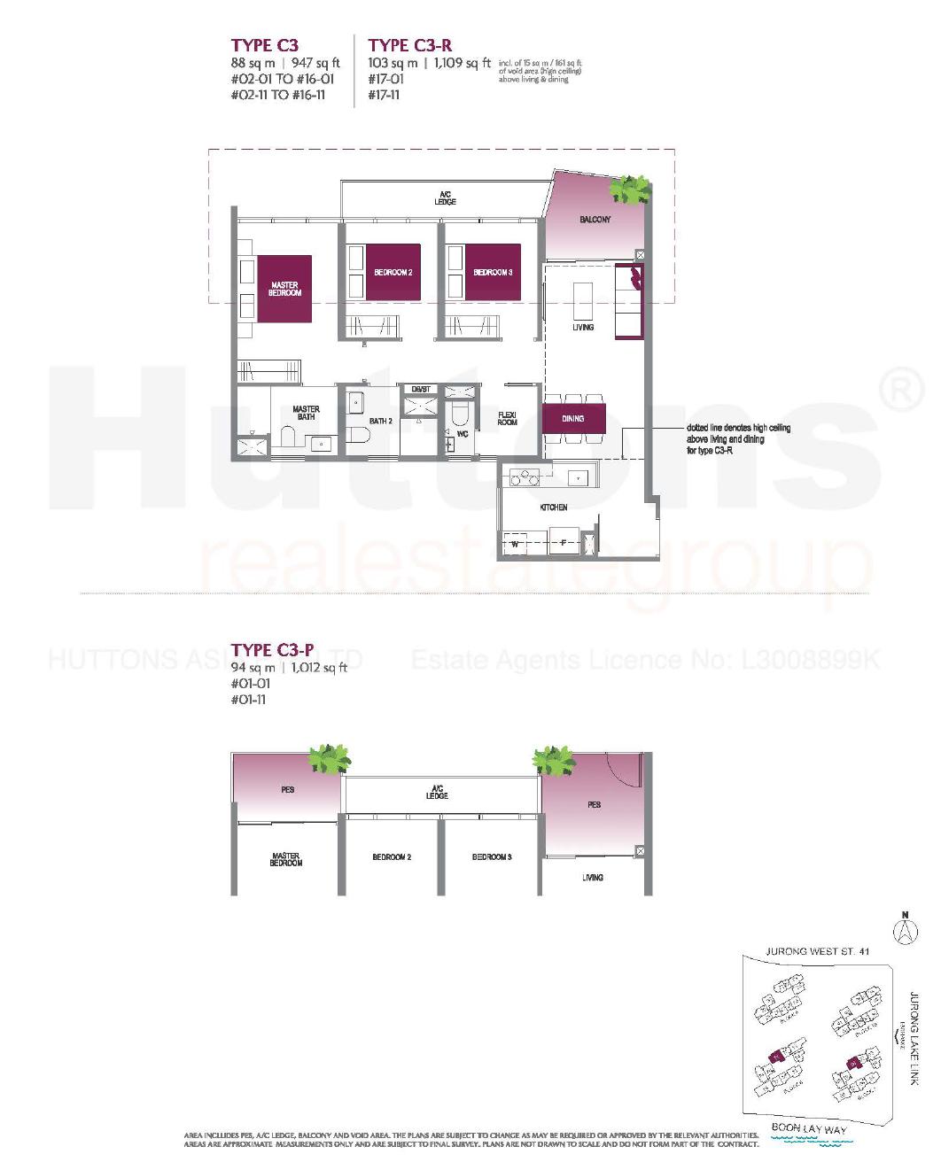 Lake Grande 3 bedroom Floor Plan type C3