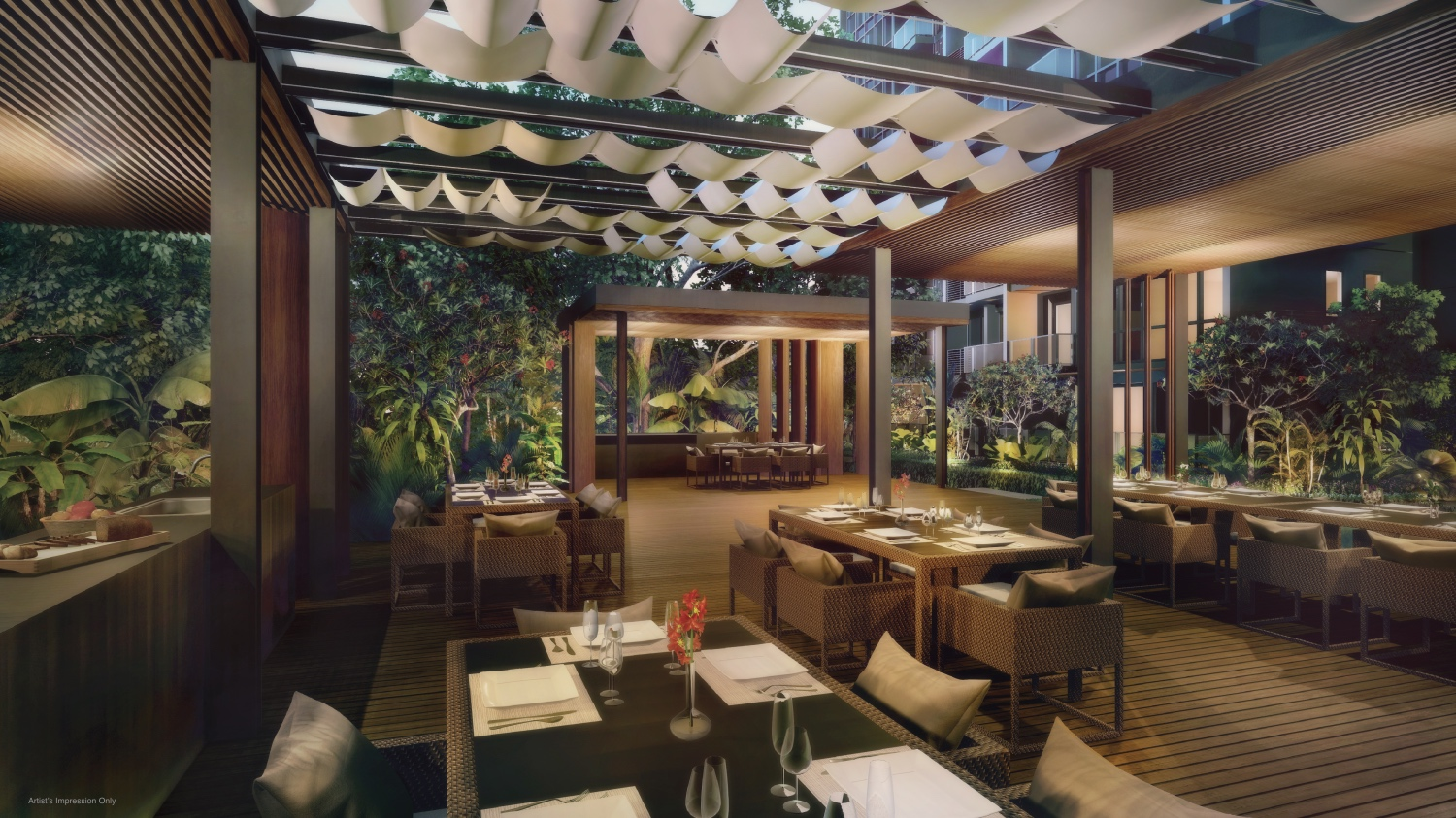 Interior look of forest dining in Lake Grande