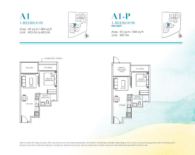 Casa-Al-Mare-1-Bedroom-Floor-Plan-Type-A1