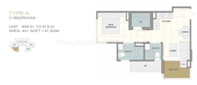 Forte Suites 1 bedroom Floor Plan