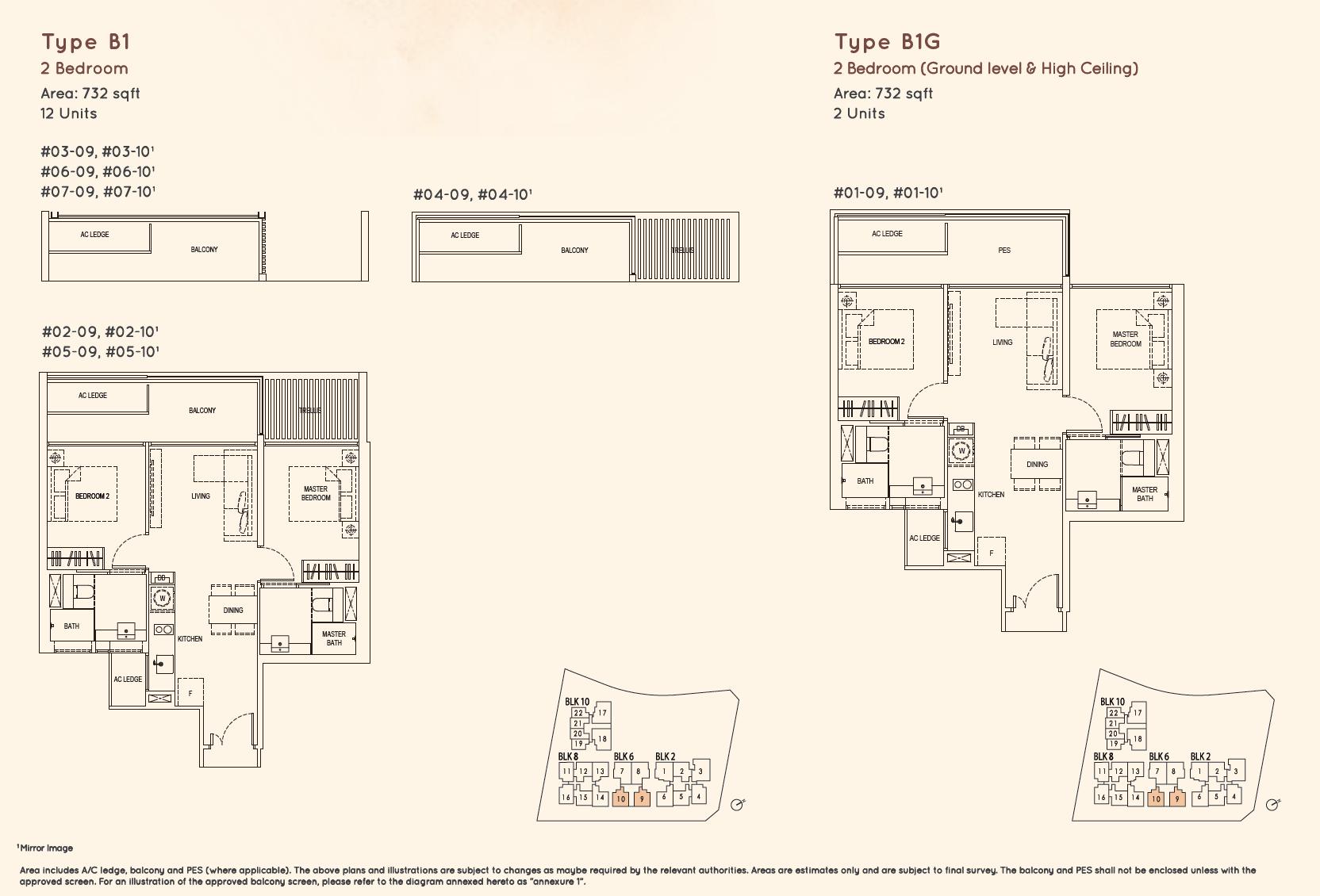 Kandis Residence 2 bedroom floor plan type B1