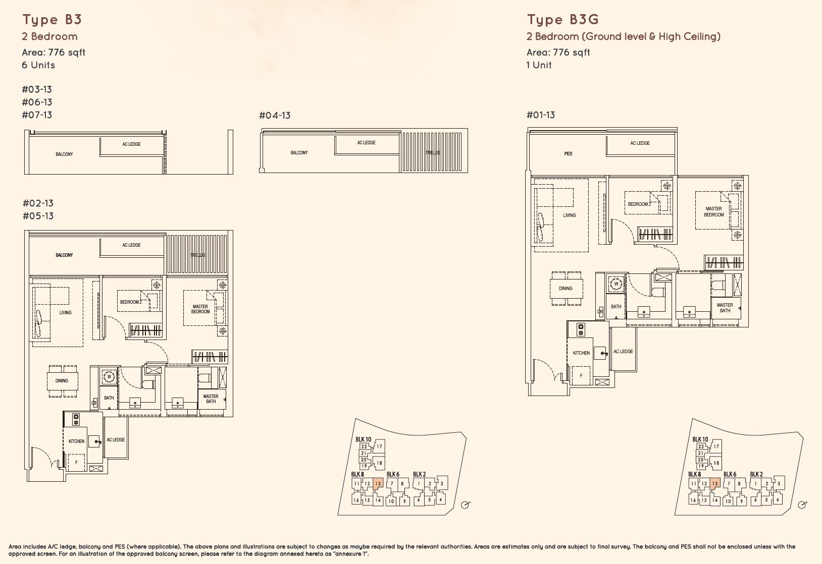 Kandis Residence 2 bedroom floor plan type B3