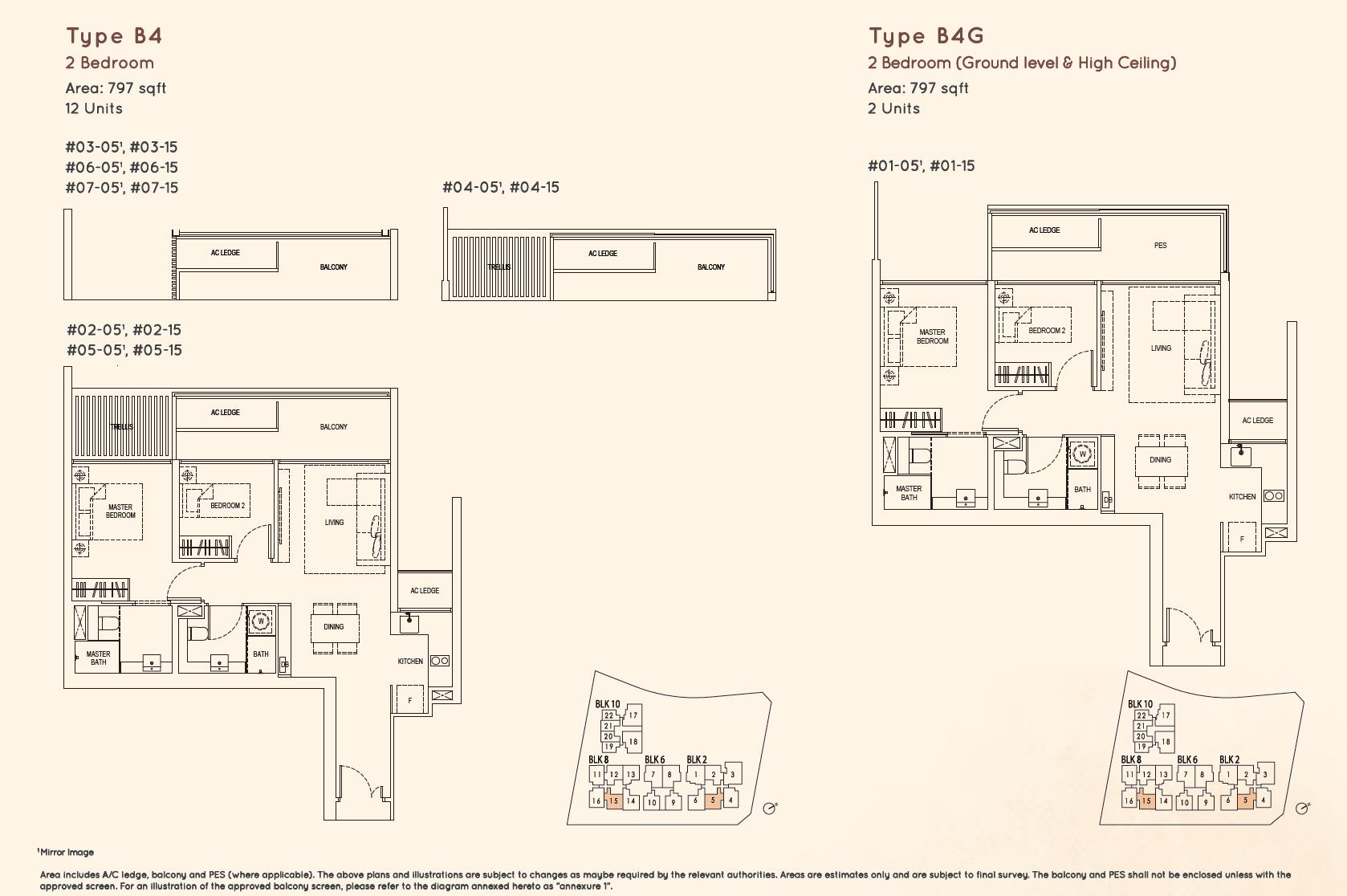 Kandis Residence 2 bedroom floor plan type B4