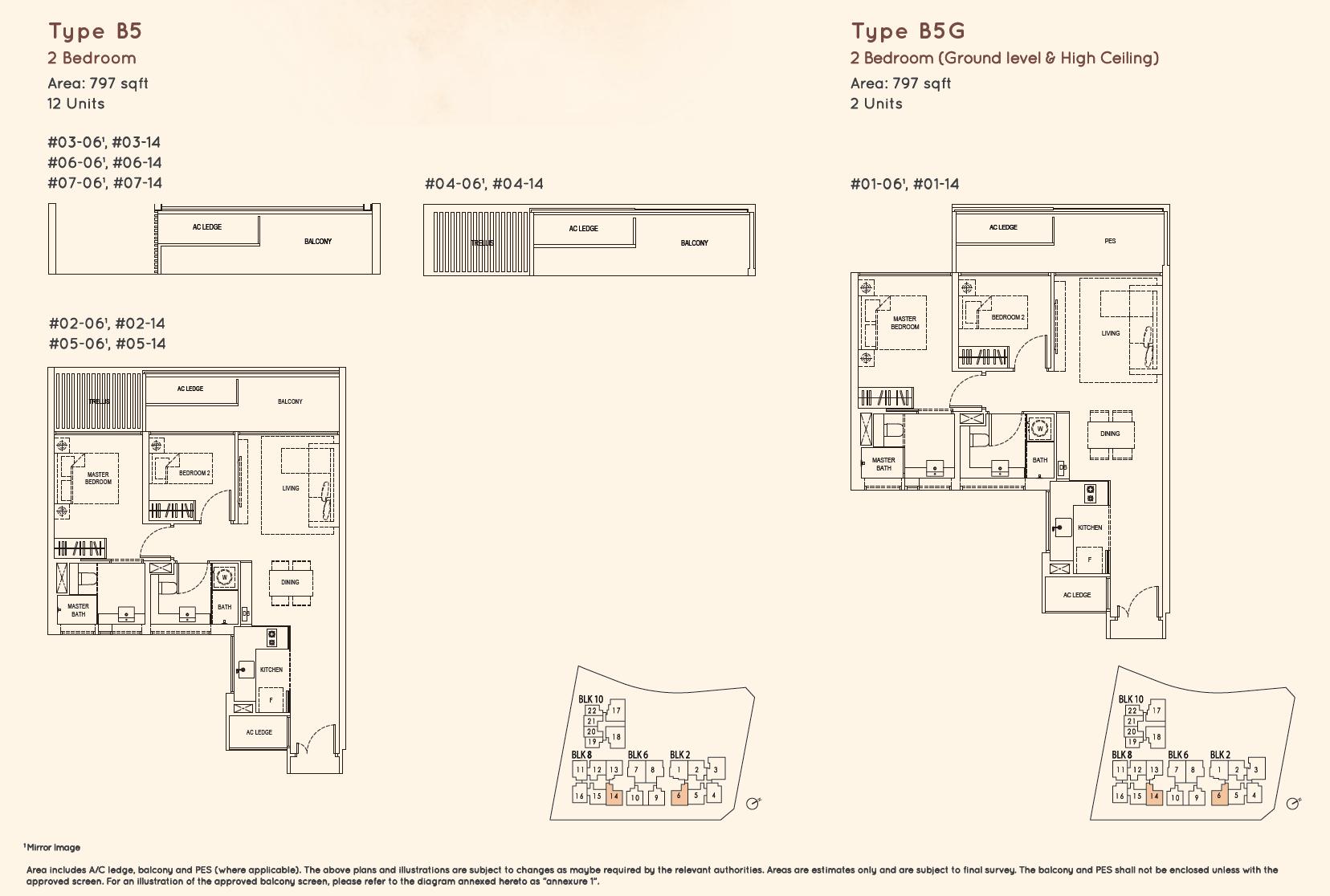 Kandis Residence 2 bedroom floor plan type B5