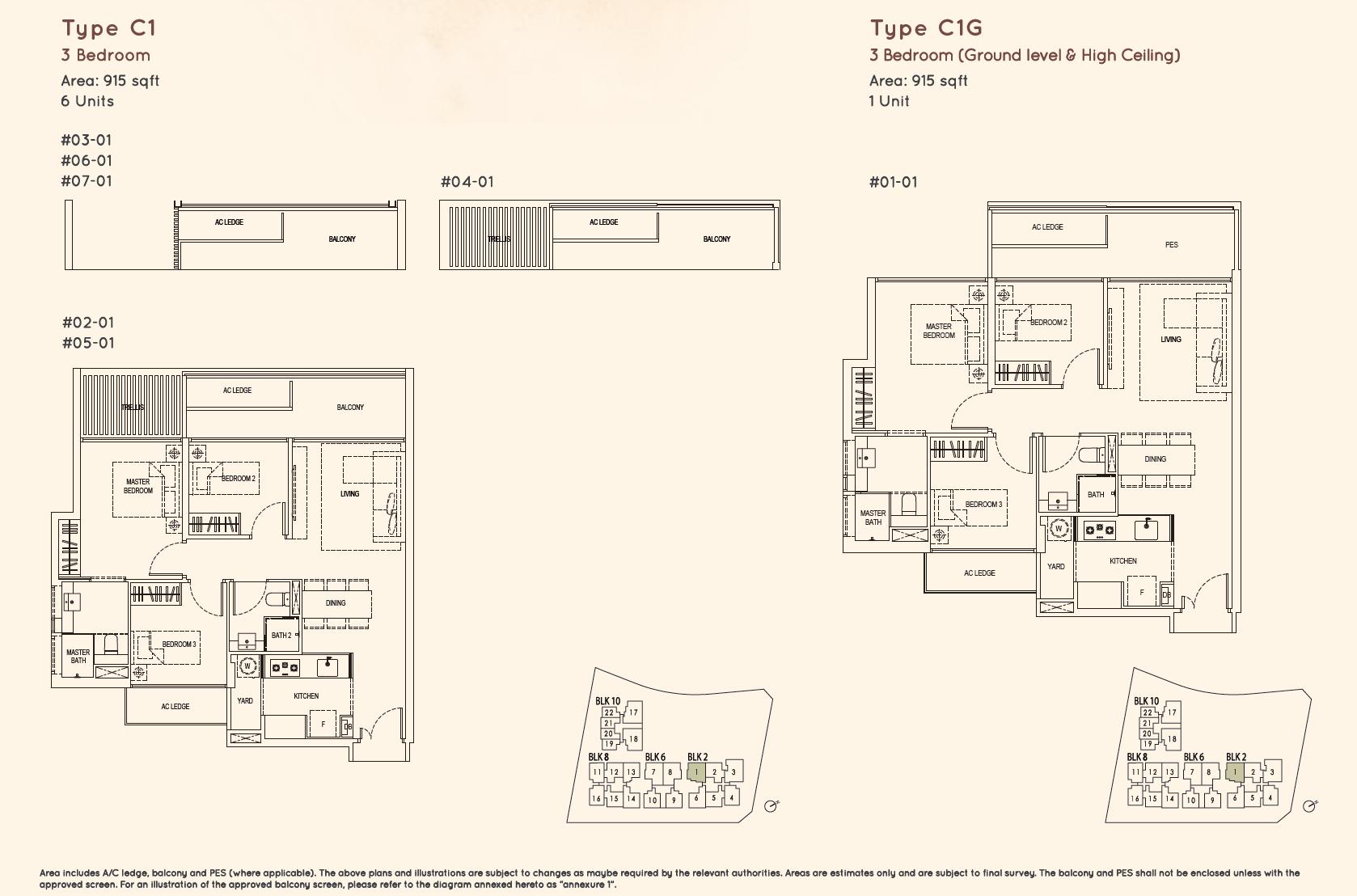 Kandis Residence 3 bedroom floor plan type C1