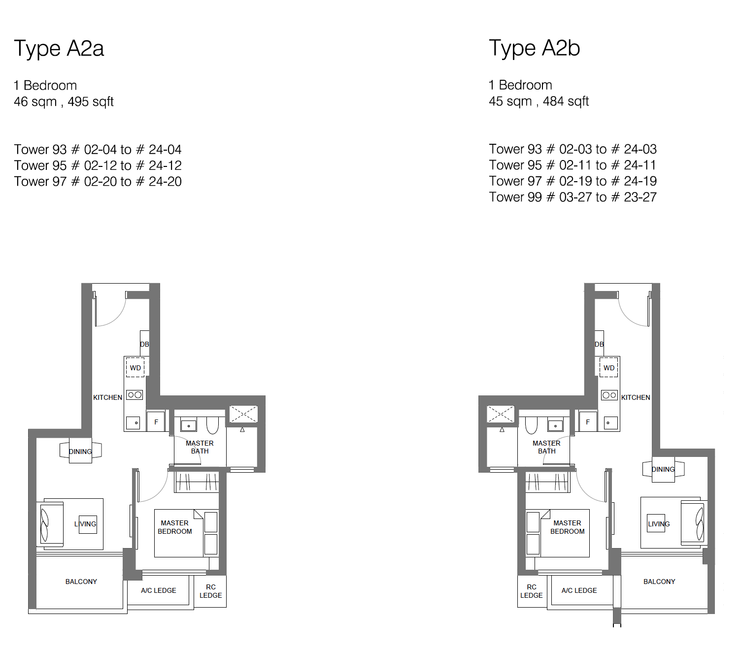 Principal Garden floor plan - 1 bedroom (type A2)