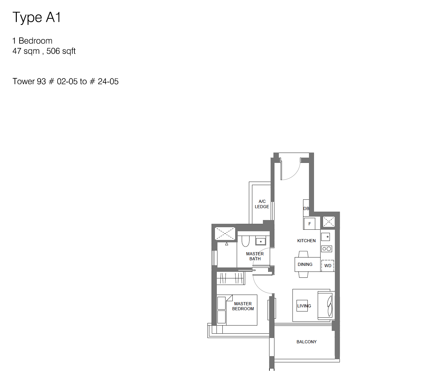 Principal Garden floor plan - 1 bedroom