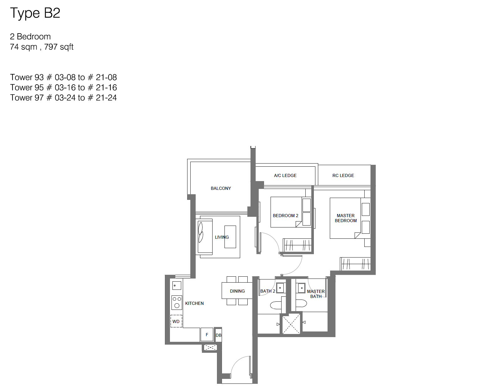 Principal Garden floor plan - 2 bedroom (type B2)