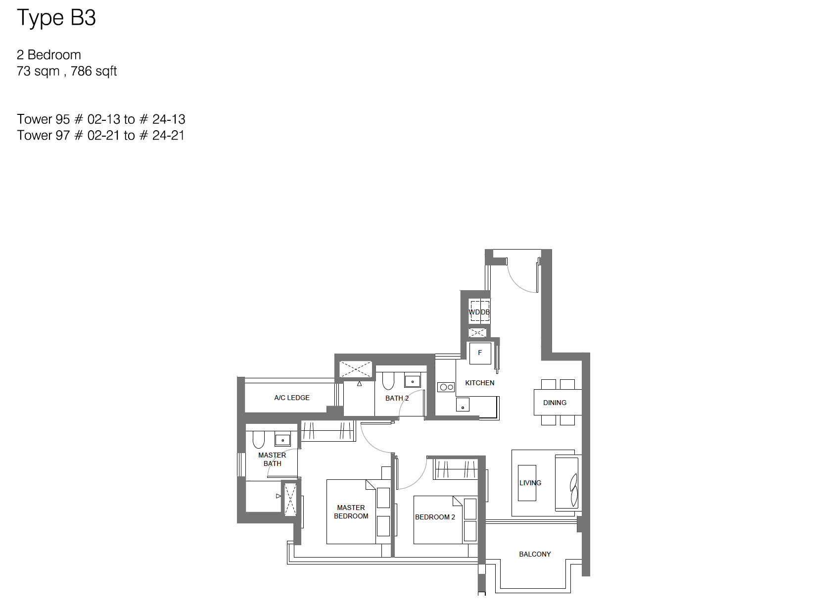 Principal Garden floor plan - 2 bedroom (type B3)