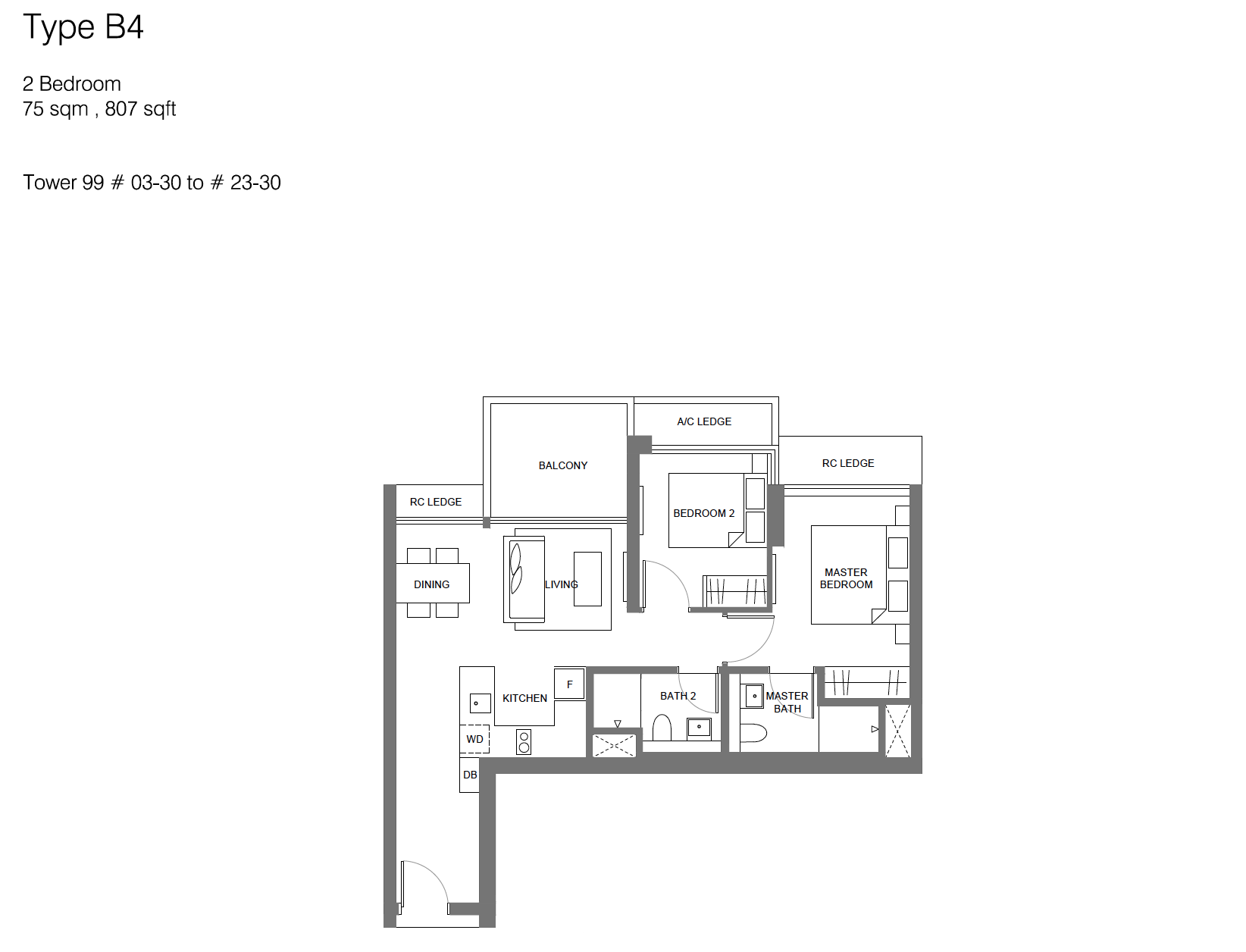 Principal Garden floor plan - 2 bedroom (type B4)