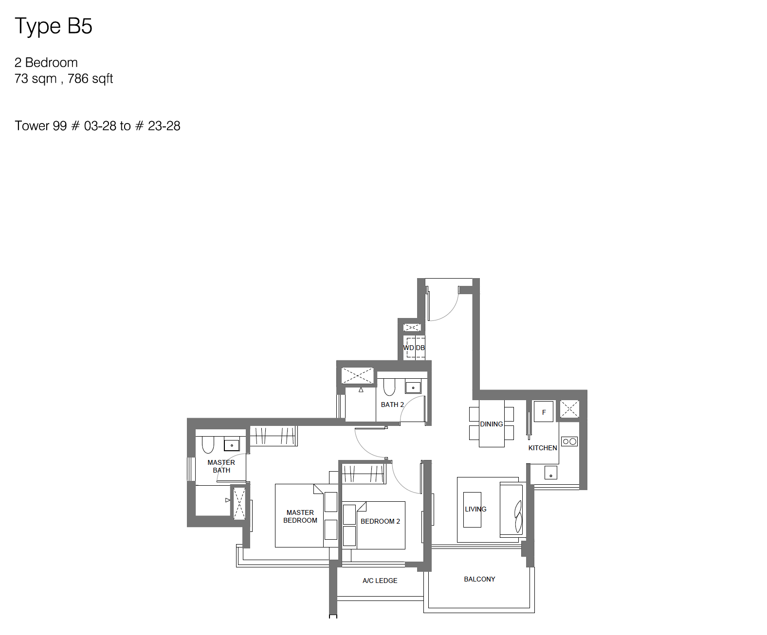 Principal Garden floor plan - 2 bedroom (type B5)
