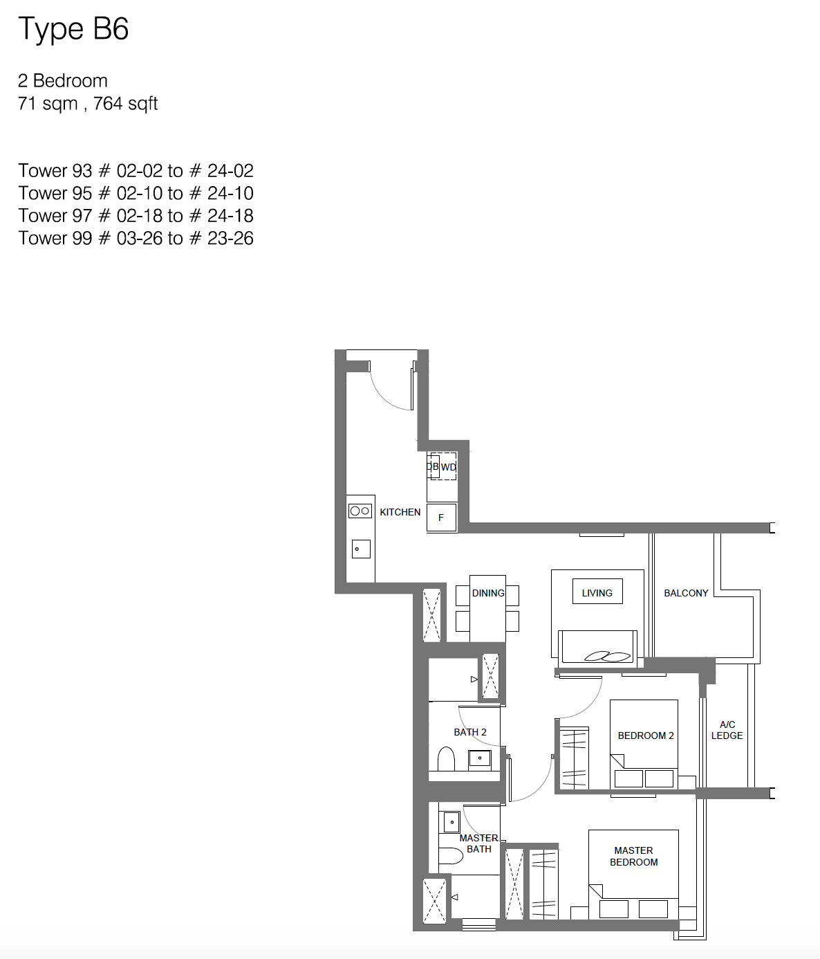 Principal Garden floor plan - 2 bedroom (type B6)