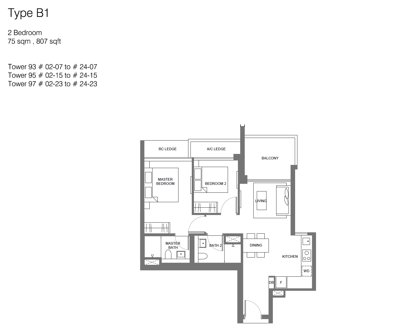 Principal Garden floor plan - 2 bedroom