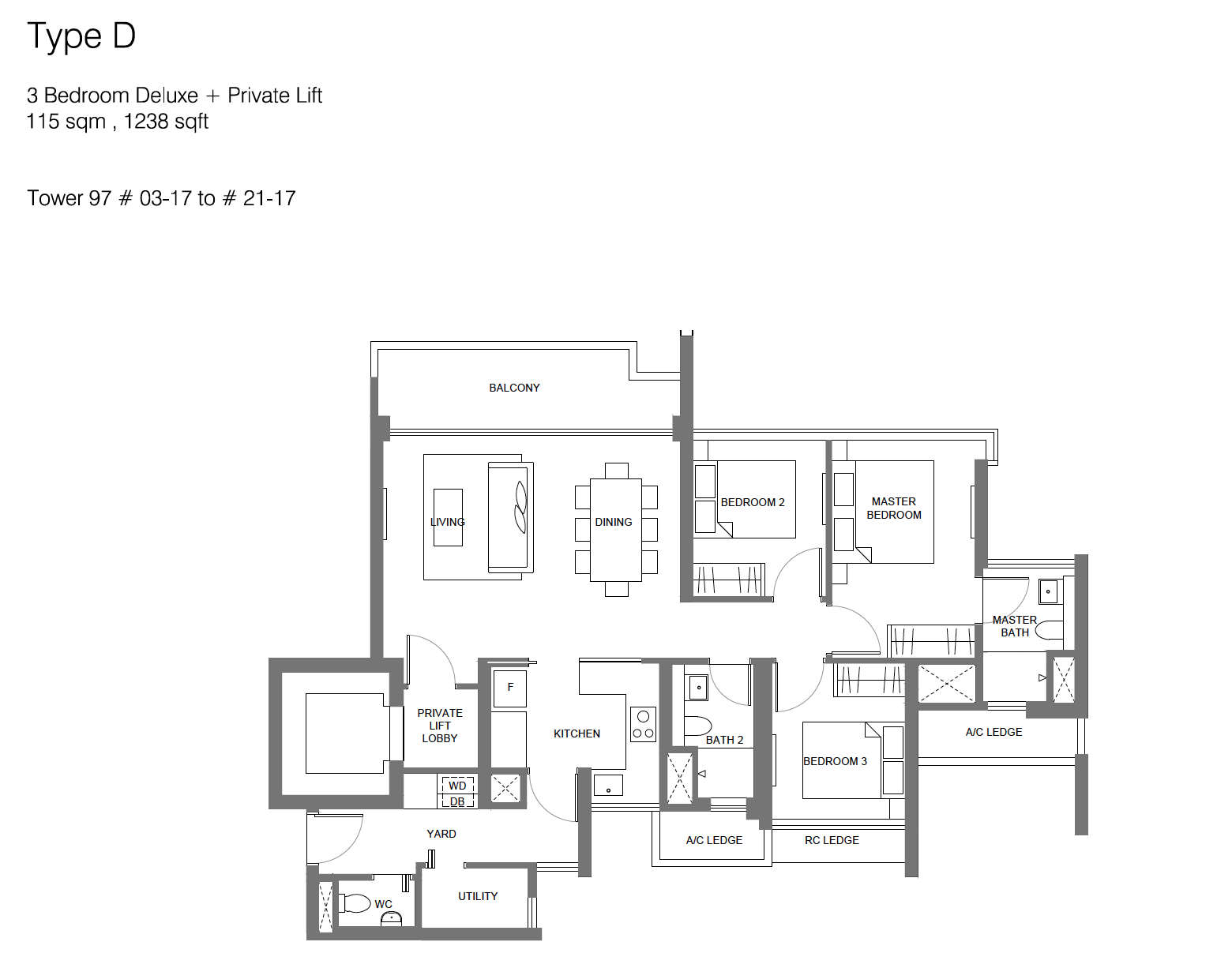Principal Garden floor plan - 3 bedroom deluxe + private lift