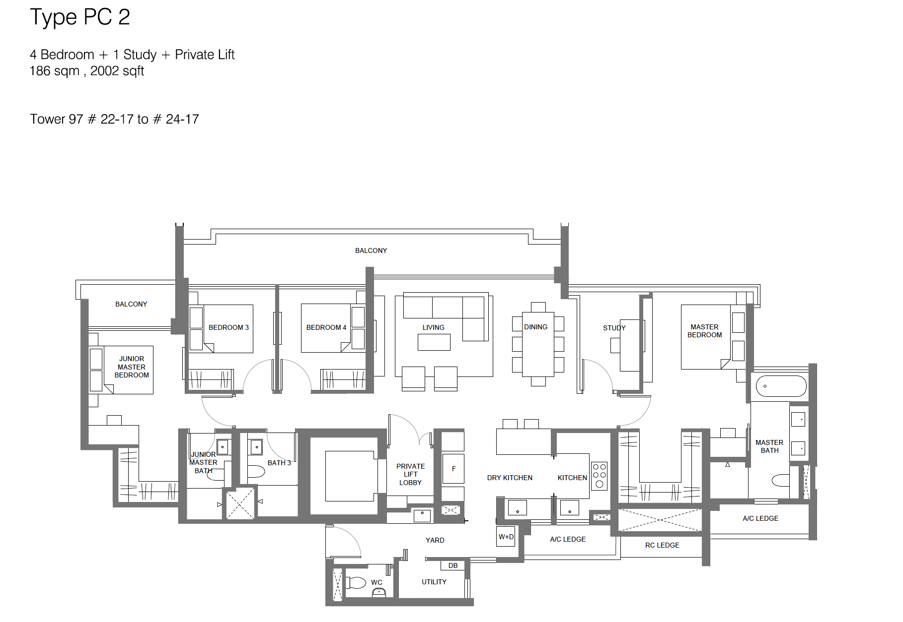 Principal Garden floor plan - 4 bedroom + study + private lift