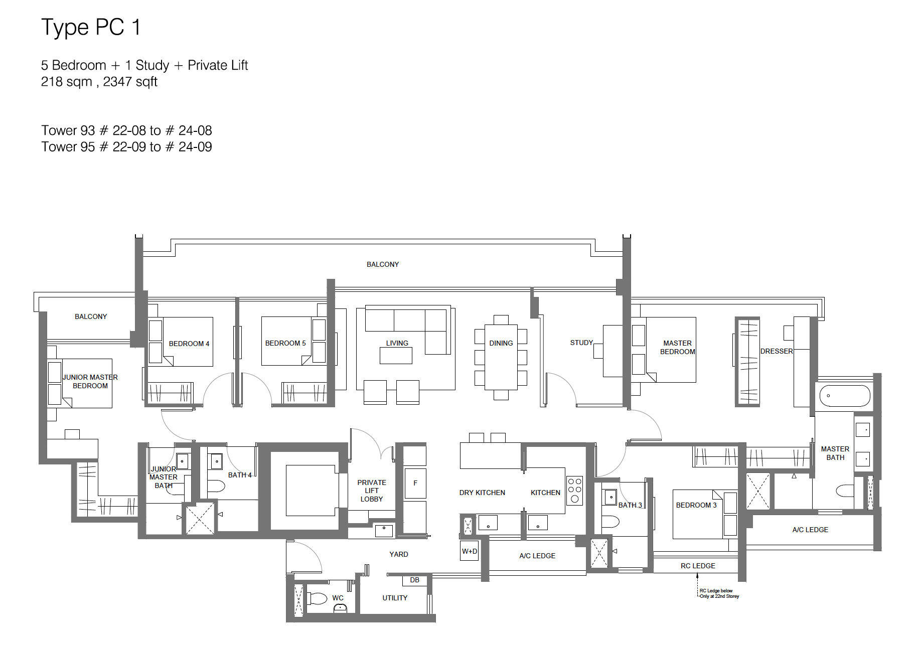 Principal Garden floor plan - 5 bedroom + study + private lift