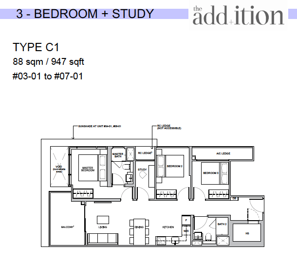 The Addition by Oxley 3+Study floor plan