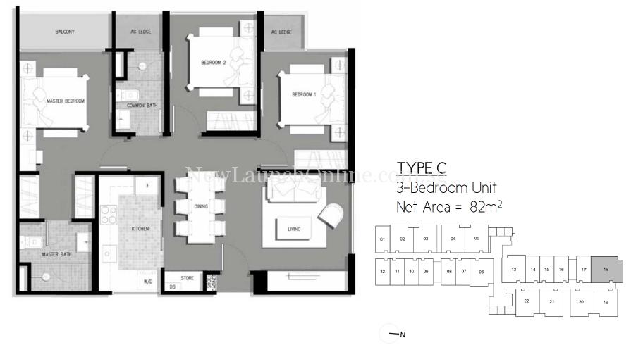 The-Gateway-Cambodia-3-bedroom-floor-plan