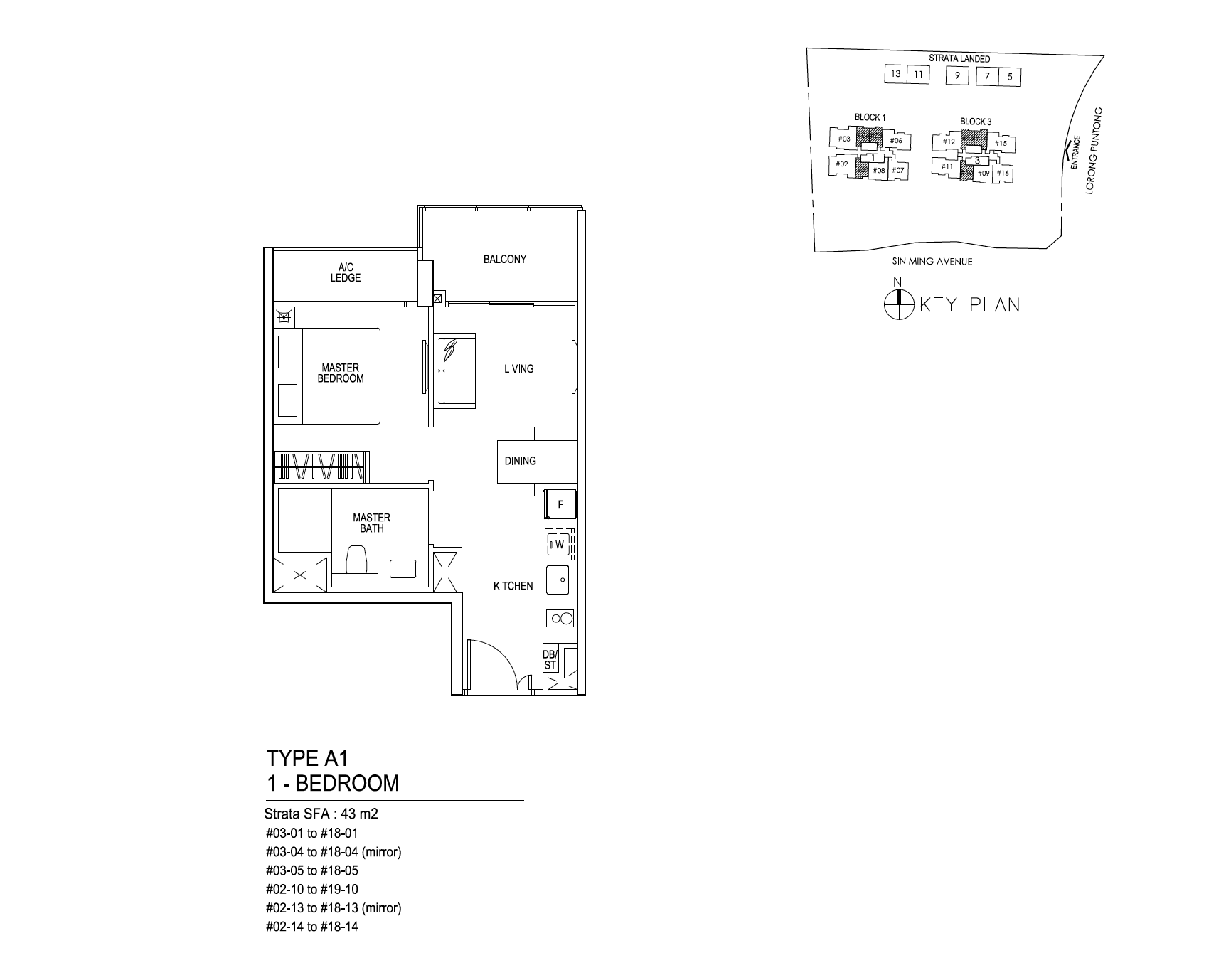 Thomson Impressions 1 bedroom floor plan