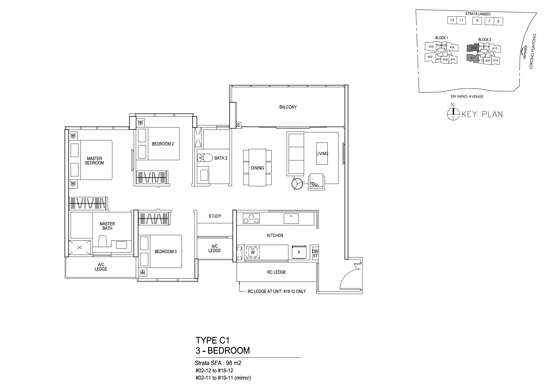 Thomson Impressions 3 bedroom floor plan type C1
