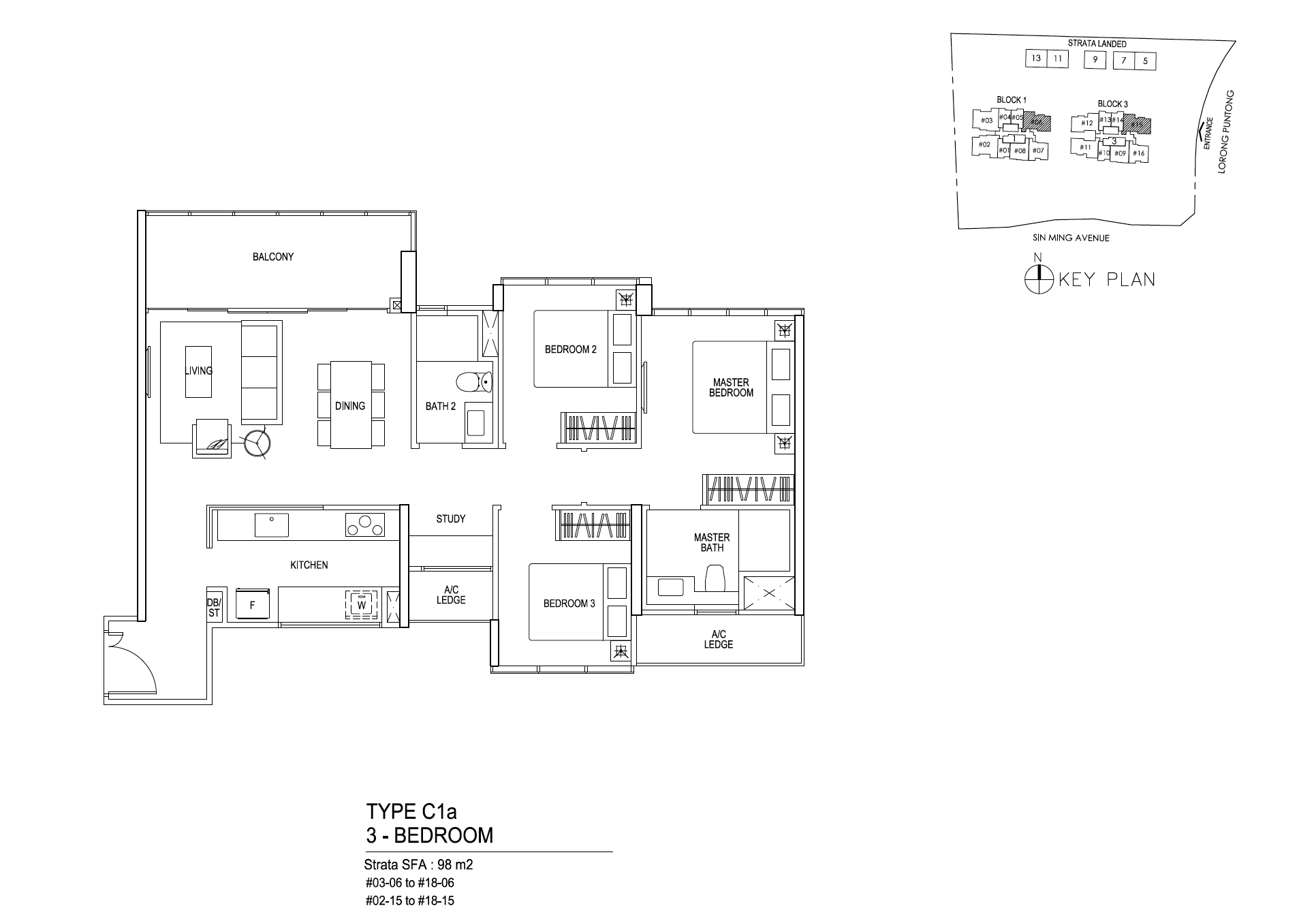 Thomson Impressions 3 bedroom floor plan type C1a