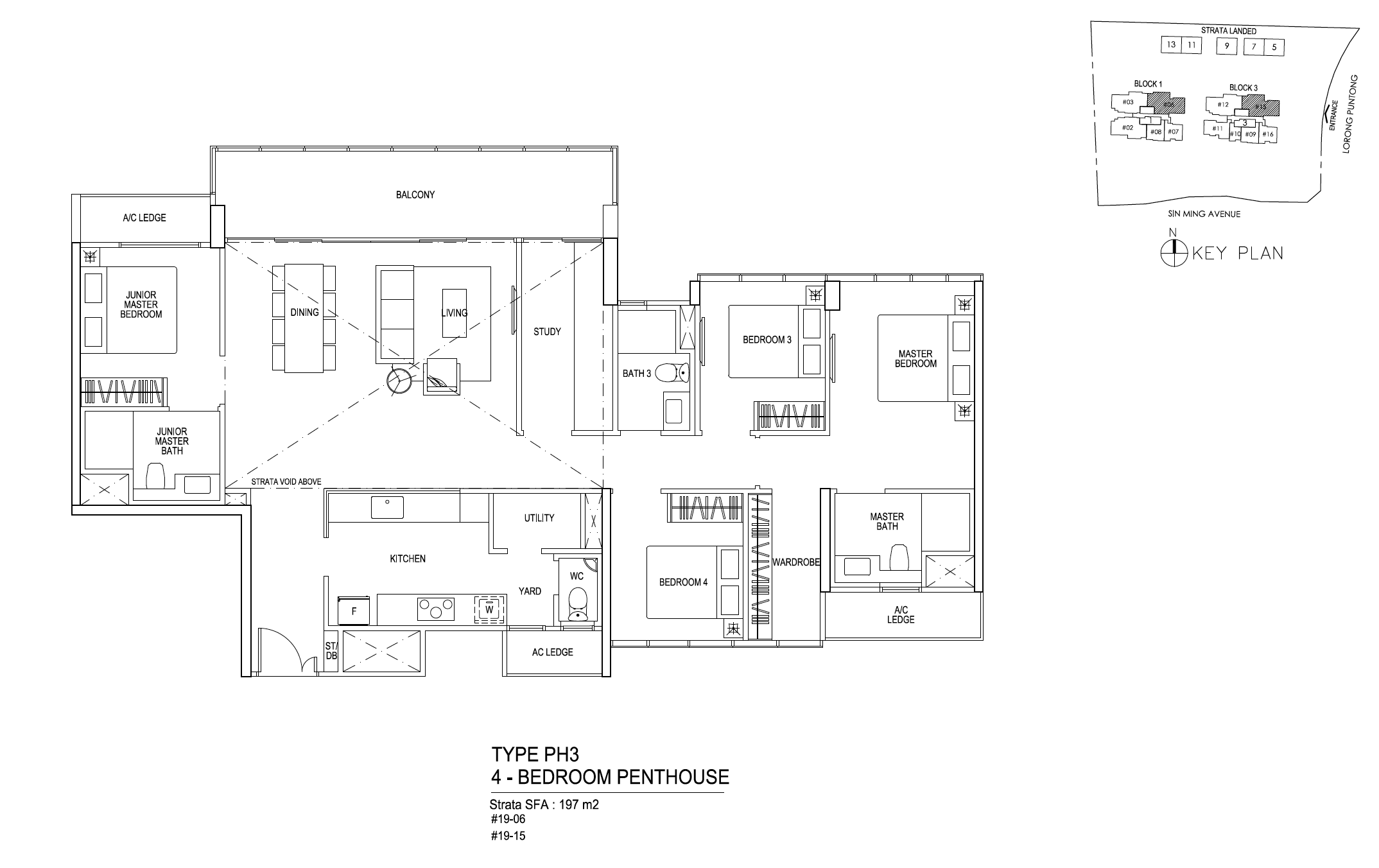 Thomson Impressions 4 bedroom penthouse floor plan type PH3