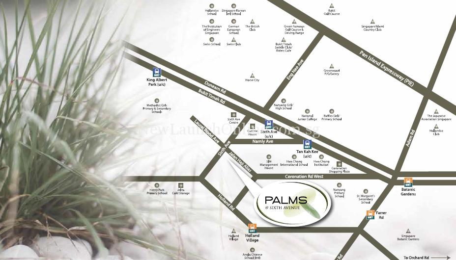 Palms at Sixth Avenue Location Map