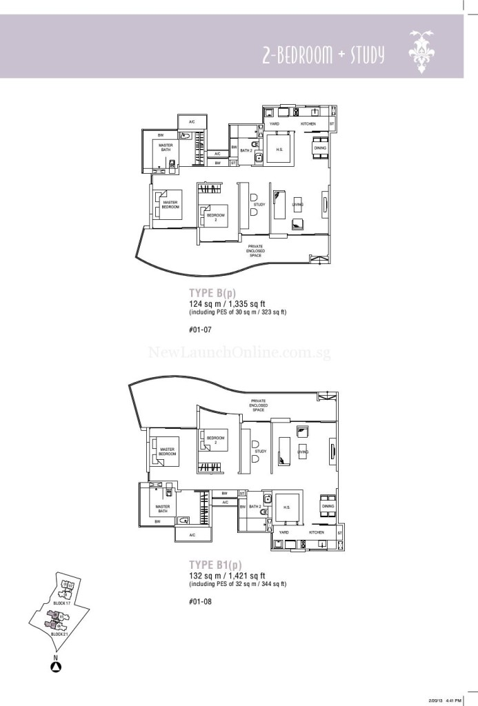 Hallmark Residences 2 bedroom + Study Floor Plan