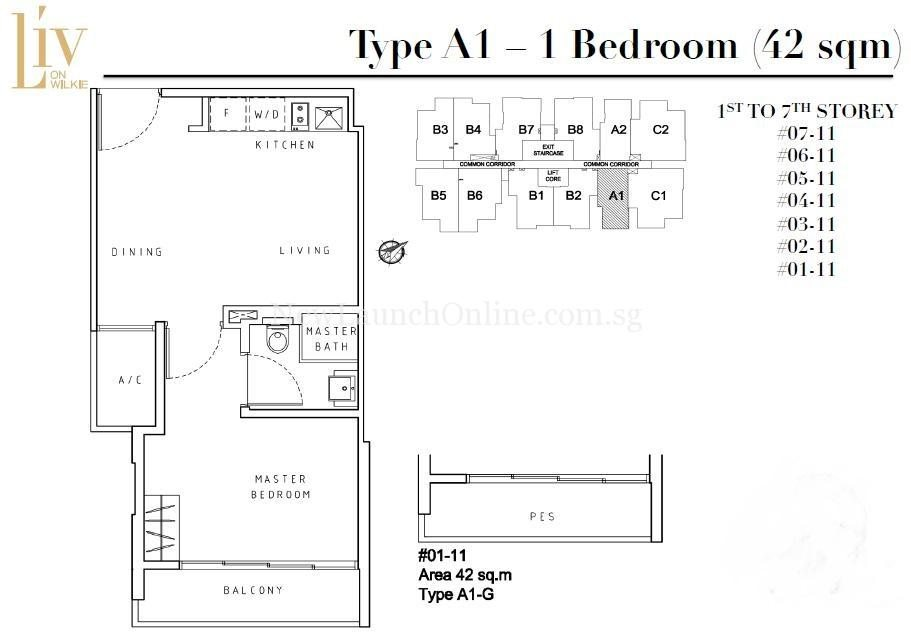 Liv on Wilkie 1 Bedroom Floor Plan Type A1