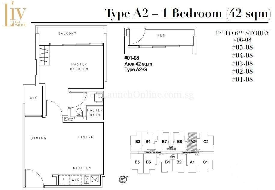 Liv on Wilkie 1 Bedroom Floor Plan Type A2
