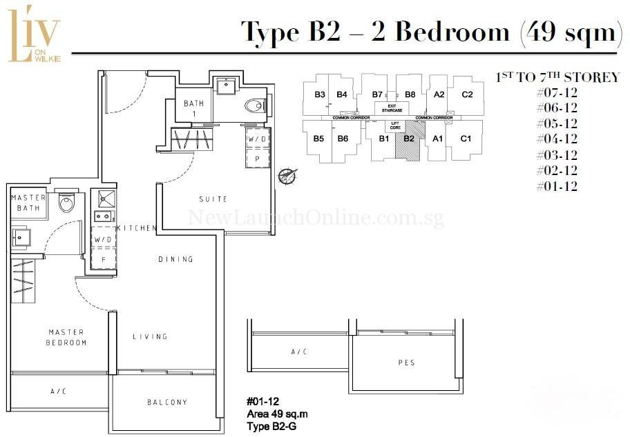 Liv on Wilkie 2 Bedroom Floor Plan Type B2