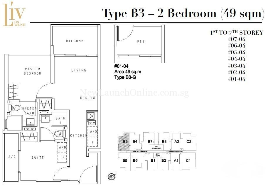 Liv on Wilkie 2 Bedroom Floor Plan Type B3