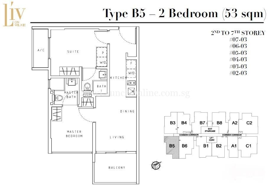 Liv on Wilkie 2 Bedroom Floor Plan Type B5