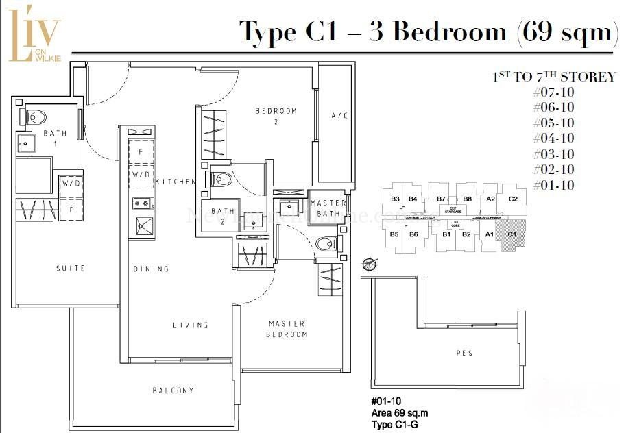 Liv on Wilkie 3 Bedroom Floor Plan Type C1