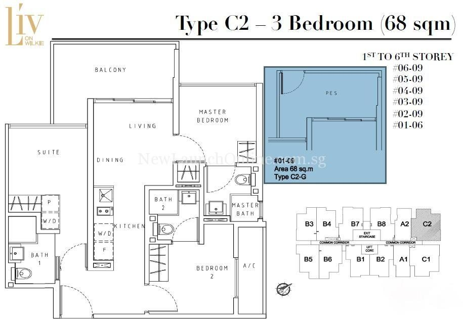Liv on Wilkie 3 Bedroom Floor Plan Type C2