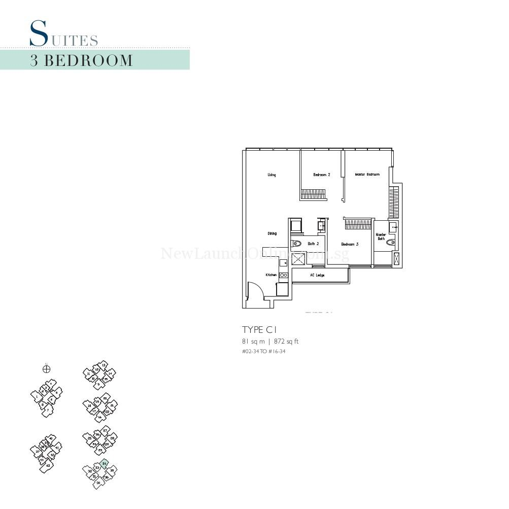 Lakeville 3 Bedroom Type C1 Suites Floor Plan