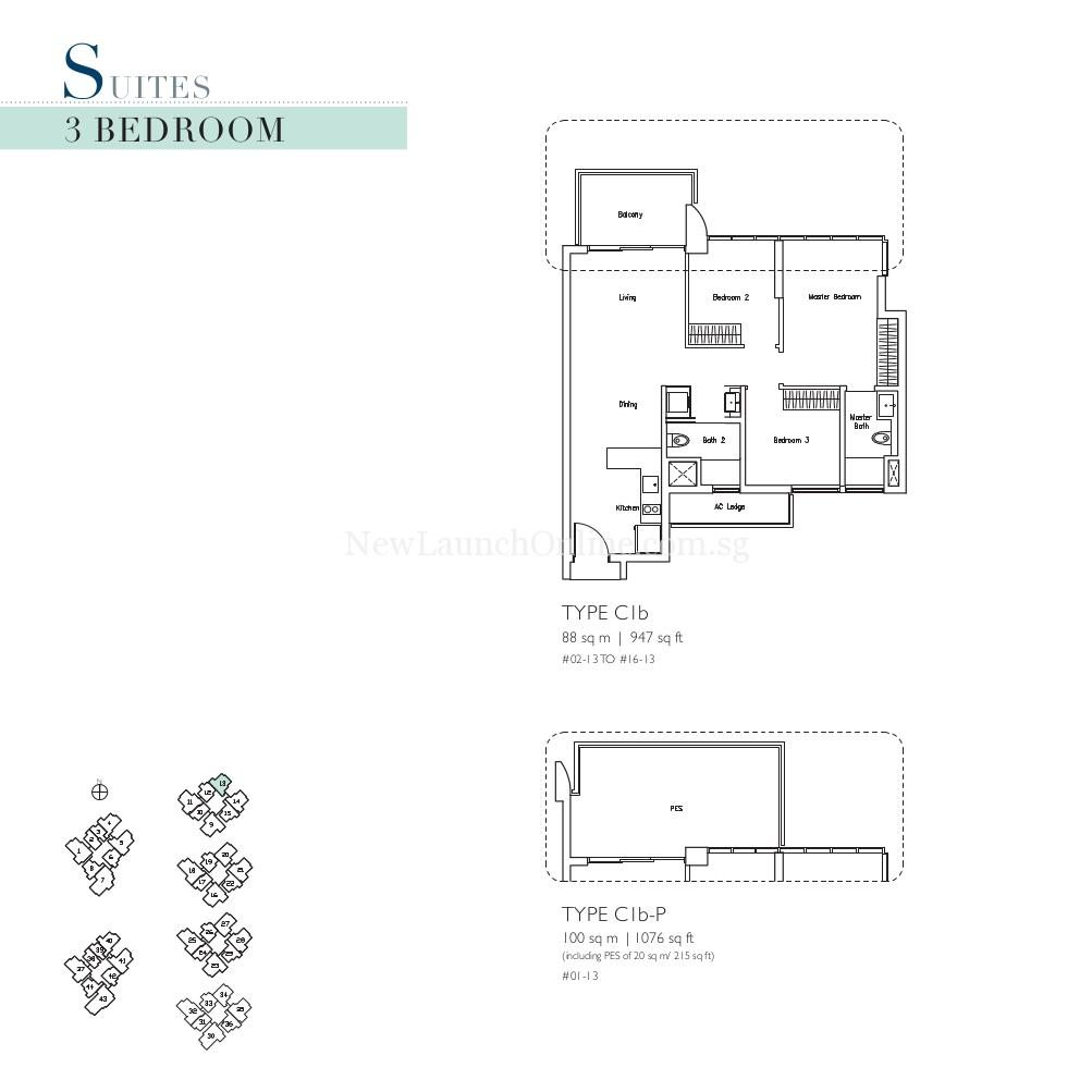 Lakeville 3 Bedroom Type C1b, C1b-P Suites Floor Plan