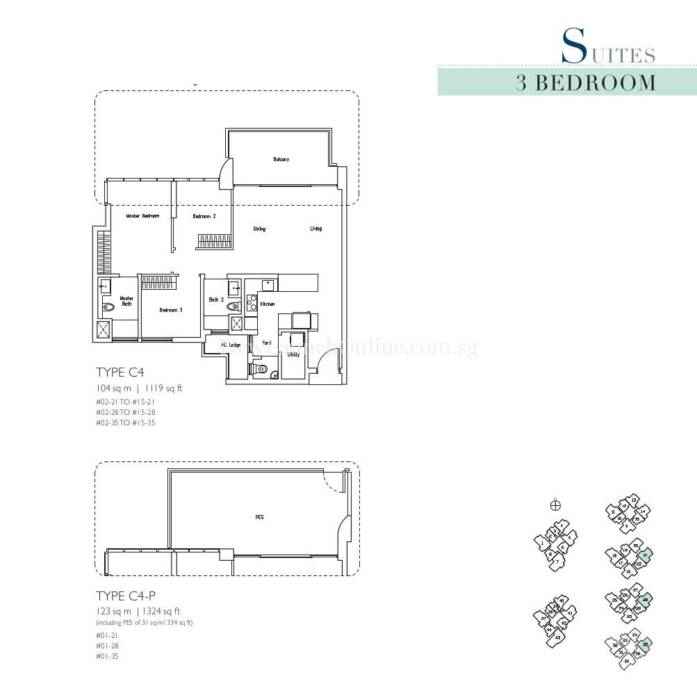 Lakeville 3 Bedroom Type C4, C4-P Suites Floor Plan