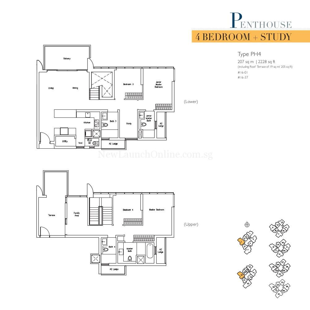 Lakeville 4+Study Penthouse Type PH4 Floor Plan