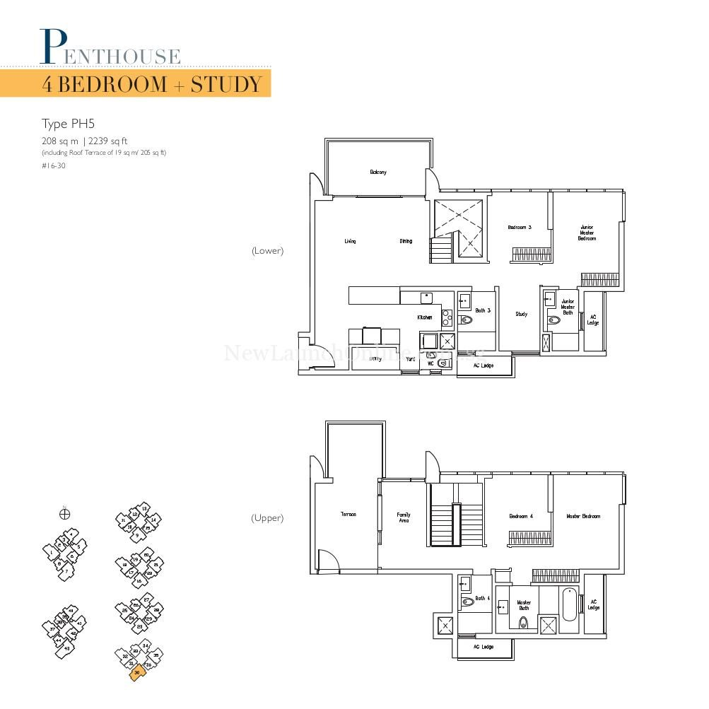 Lakeville 4+Study Penthouse Type PH5 Floor Plan