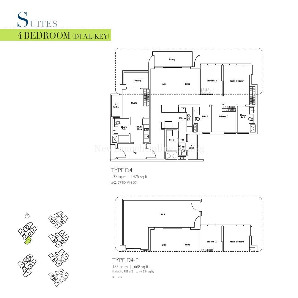 Lakeville 4 Bedroom Dual Key Type D4, D4-P Suites Floor Plan