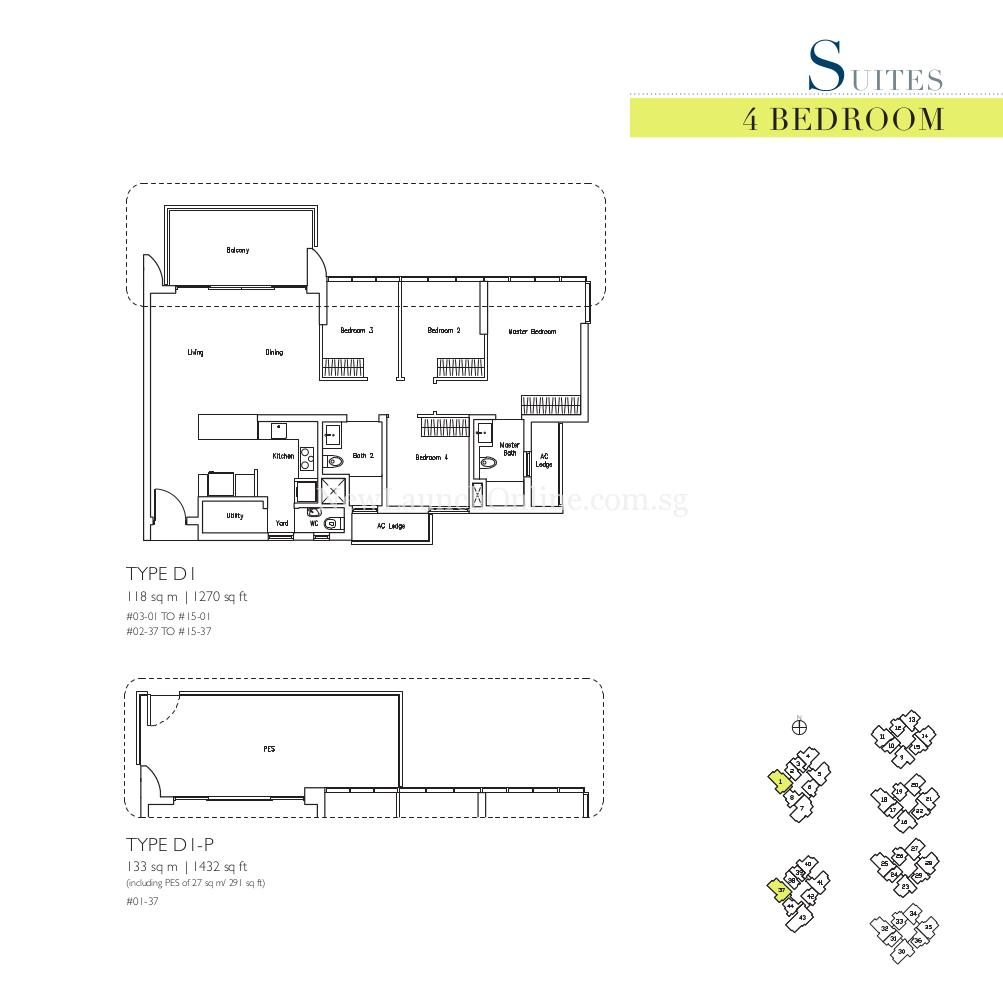 Lakeville 4 Bedroom Type D1, D1-P Suites Floor Plan