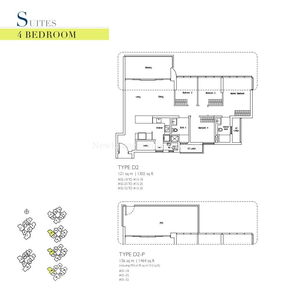 Lakeville 4 Bedroom Type D2, D2-P Suites Floor Plan