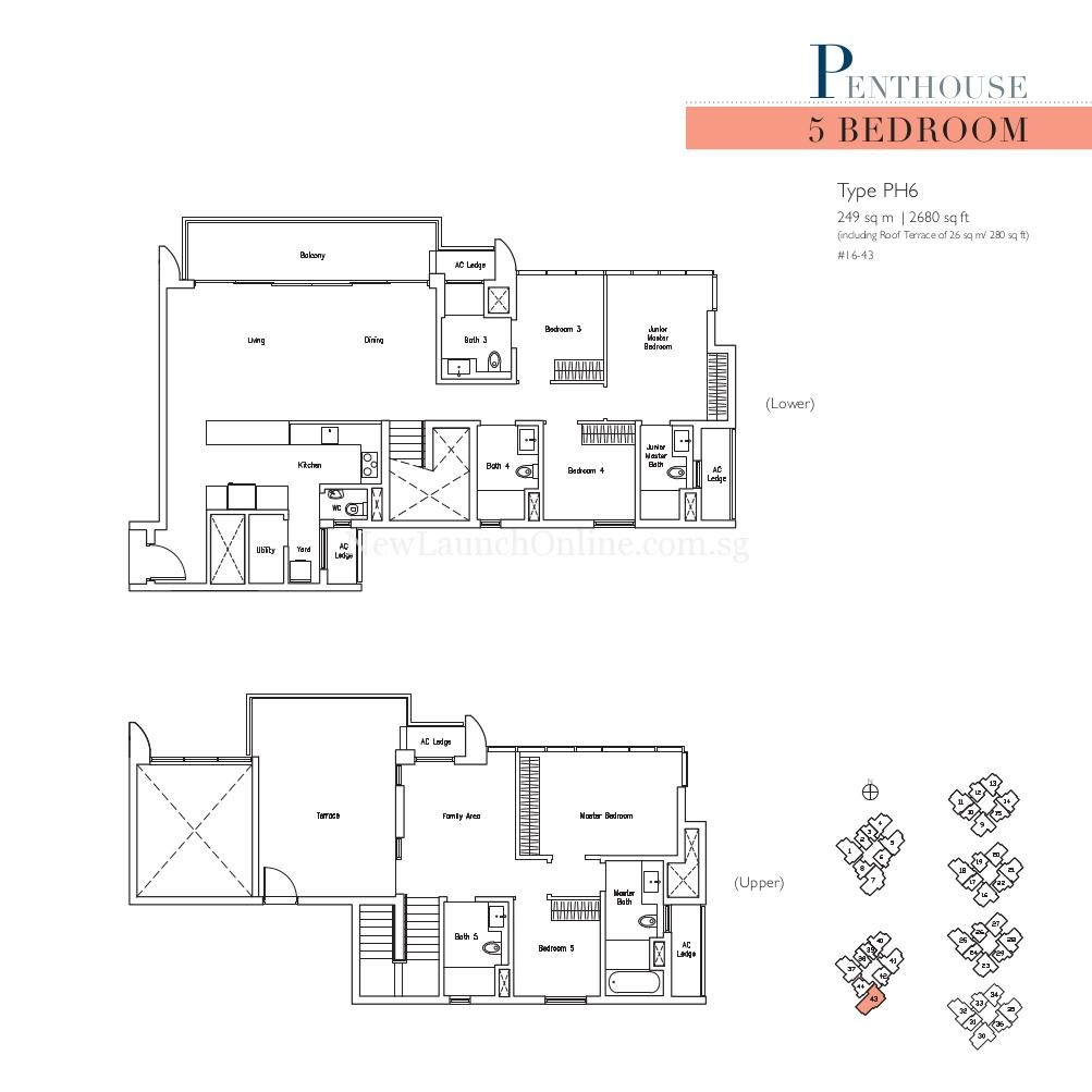 Lakeville 5 Bedroom Penthouse Type PH6 Floor Plan