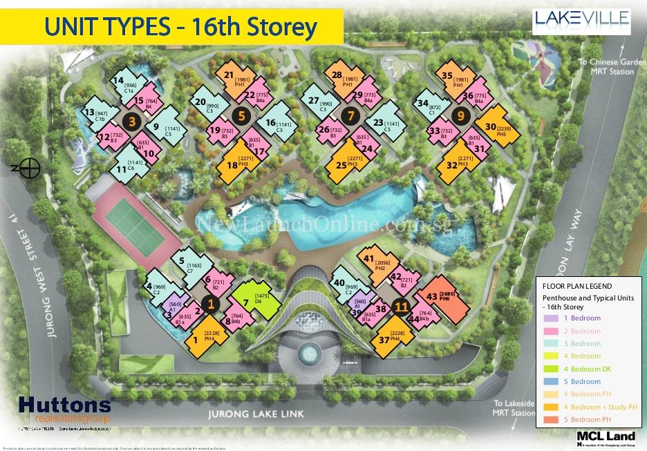 Lakeville @ Lakeside Singapore Site Plan 16 flr PH and Typical Units
