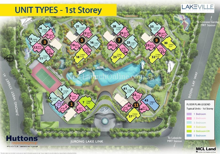 Lakeville @ Lakeside Singapore Site Plan 1st flr Typical Units