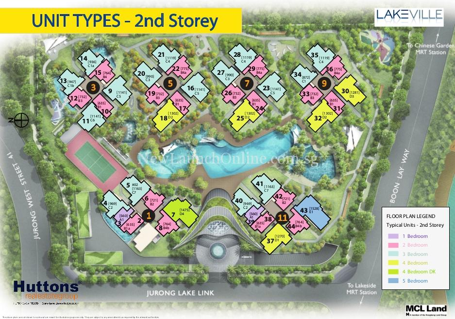 Lakeville @ Lakeside Singapore Site Plan 2nd flr Typical Units