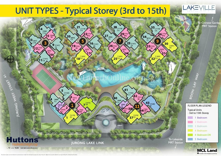 Lakeville @ Lakeside Singapore Site Plan 3-15 flr Typical Units